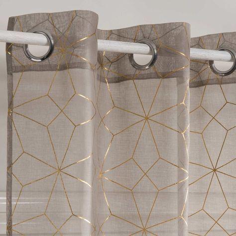 rideau voilage a œillets beige motifs