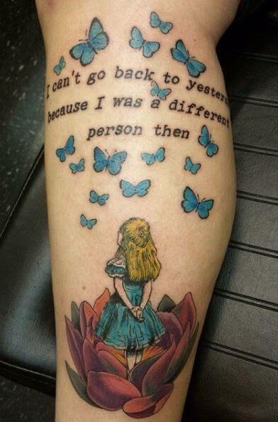 Alice In Wonderland Tattoos Alice In Wonderland Tattoo Quotes Good Tattoo Quotes Wonderland Tattoo