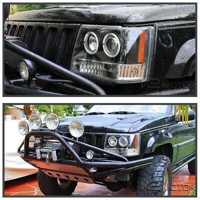 1993 1996 Jeep Grand Cherokee Halo Projector Headlights Black Pair