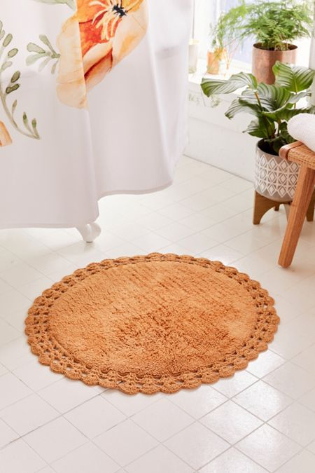 Round Crochet Trim Bath Mat With