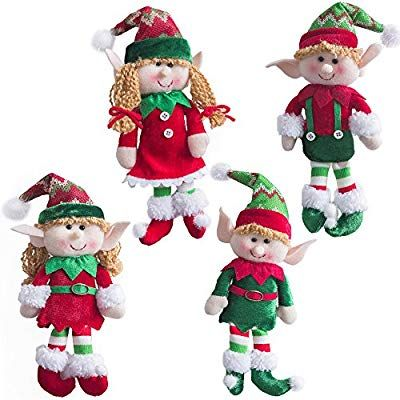 Amazon Com Wewill Adorable Flexible Christmas Elves Dolls Set Of 4 Party Home Decoration Holiday Plush Characters 1 Christmas Elf Doll Christmas Elf Elf Doll
