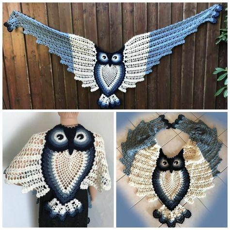 Pineapple Owl Shawl Crochet Pattern - Crochet & Knitting Vintage Crochet Patterns, Owl Patterns, Knitting Patterns, Crochet Scarves, Crochet Hooks, Free Crochet, Owl Crochet Pattern Free, Crochet Lace, Free Pattern