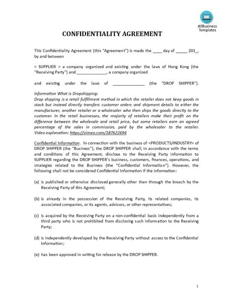 Confidentiality Agreement drop shipping retailer - Download this - vendor confidentiality agreement