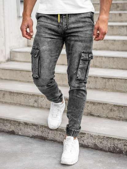 Czarne Spodnie Jeansowe Joggery Bojowki Meskie Denley Hy687 Pants Joggers Grey Jean