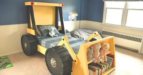 Bring more happiness into your kids' bedroom with this construction truck bed. You can build this bed with the help of a plan by Etsy shop HammerTree.
