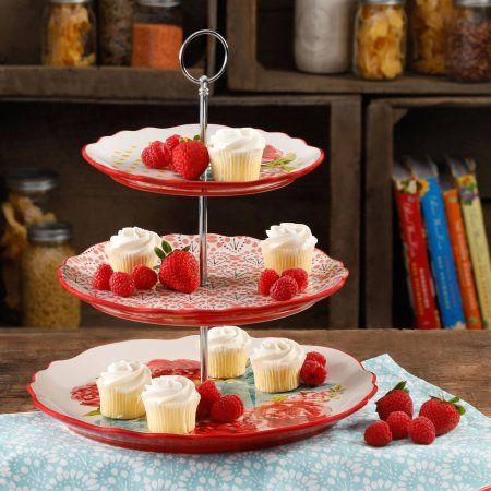 The Pioneer Woman Blossom Jubilee 3 Tier Serving Tray Walmart Com Pioneer Woman Dishes Pioneer Woman Kitchen 3 Tier Serving Tray