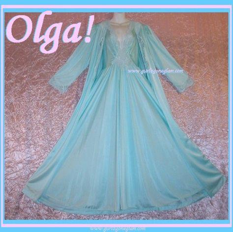 Vintage OLGA Nightgown Peignoir Set CARIBBEAN Blue 92280 ENORMOUS 15'+ SWEEP Sz L-XL! #gurlz.ecrater.com