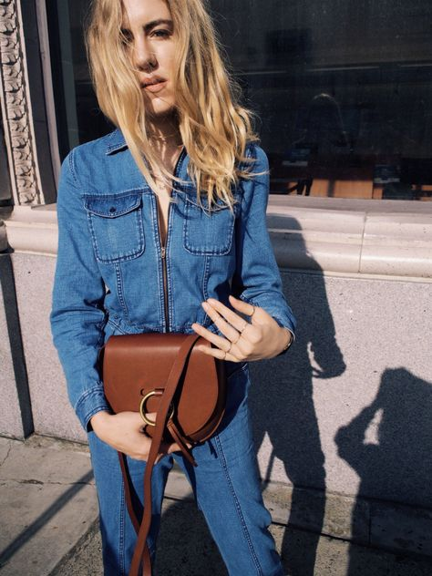 d1e2b2ab1f9 Madewell x Goop Denim Coverall Jumpsuit Madewell Leather Lisbon O-Ring  Saddlebag…