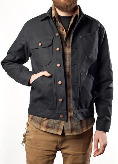 Mercy Supply Co Work Jacket Black is part of Denim jacket men - Mercy Supply Co Work Jacket in Black 20 oz American made waxed canvas Hand hammered solid copper rivets Raw copper buttons Made in USA