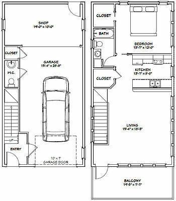 20x40 House 1 Bedroom 1 5 Bath 1 053 Sq Ft Pdf Floor Plan Model 7h Ebay Garage Apartment Floor Plans Apartment Floor Plans Floor Plans