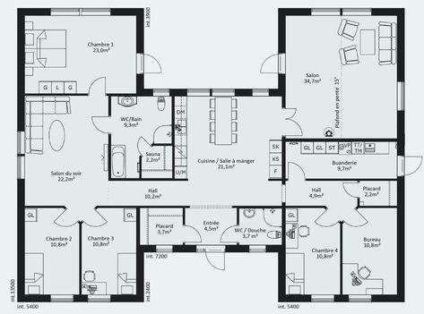 Lovely Plan Maison Plain Pied 4 Chambres 100m2 Plan Maison En U Plan Maison Plain Pied Plan De Maison Gratuit