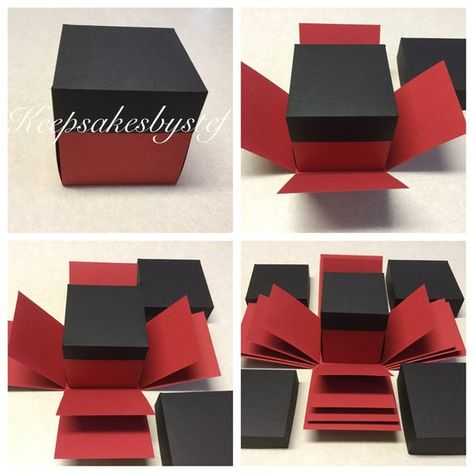 DIY Explosion box. It comes delivered in plain color(s) already put together and ready for you to design and call your own. Please Note: ***This explosion box is just the outter portions of the box. No design paper is added*** FREE shipping to US customers!  You pick the colors you want for your