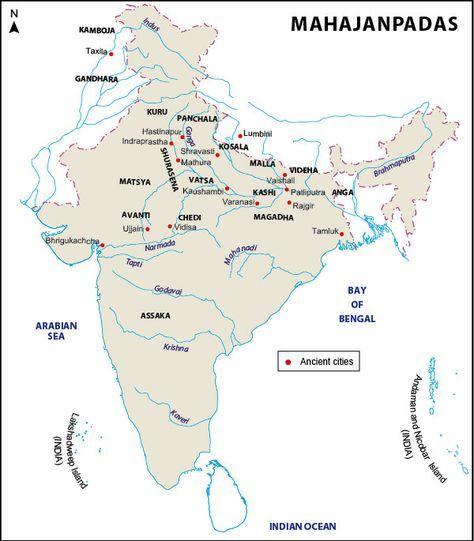 There Were Sixteen Of Mahajanapadas Or Great Kingdoms In India Kasi Kosala Anga Magadha Vajji Malla C History Of India Ancient India Map Indian History