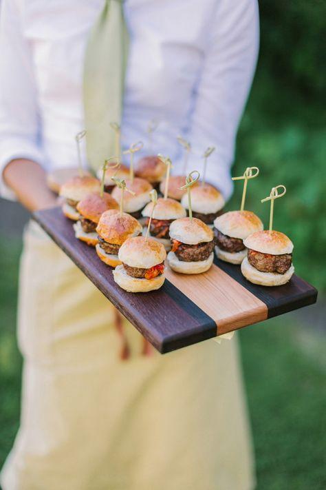 Mini burger sliders served as a
