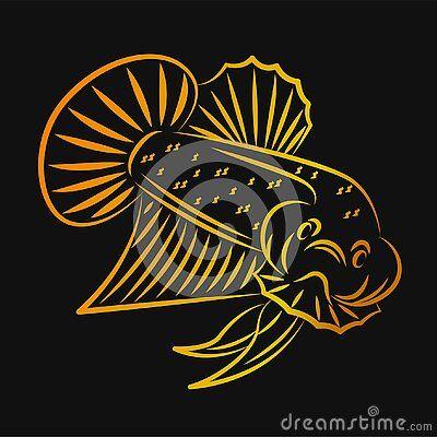 Betta Wild Outline Betta Wild Fish Line Art Golden Minimalist Vector Logo Di 2020 Desain Logo Hewan Desain