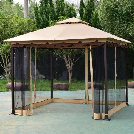 Online Gym Shop Cb19809 10 X 10 Ft Outdoor Gazebo 2 Tier Patio Tent Walmart Com Patio Gazebo Canopy Outdoor Gazebo