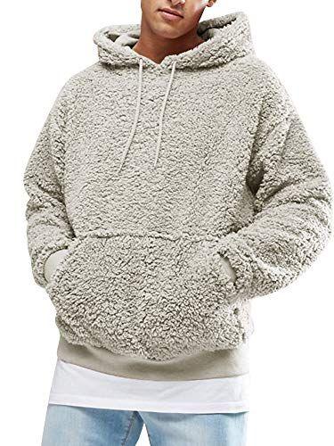 Casual Style Men Long Sleeve Hooded Sweatshirt Plain Design Hoodie Pullover Top