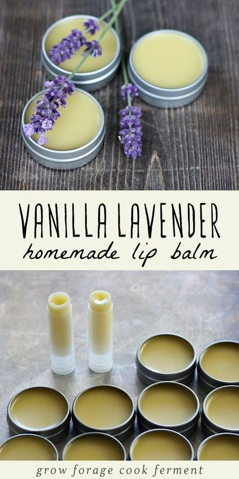 Make your own homemade vanilla lavender lip balm. It's an easy DIY herbal project that smells amazing! Make your own homemade vanilla lavender lip balm. It's an easy DIY herbal project that smells amazing!Before making this lip balm recipe, you w Homemade Lip Balm, Diy Lip Balm, Homemade Vanilla, Homemade Deodorant, Homemade Soap Recipes, Homemade Crafts, Lip Balm Recipes, Lemon Balm Recipes, Lip Balm Tubes