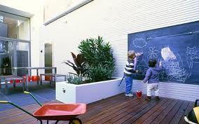 kid friendly courtyard - blackboard