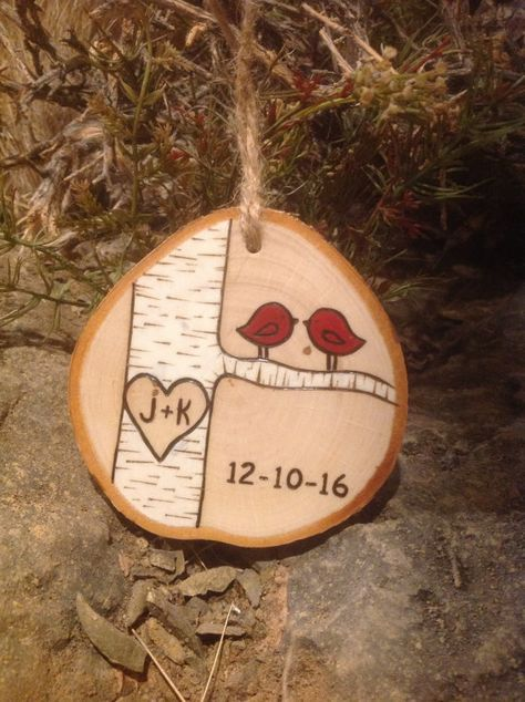 Love Birds Ornament personalized with от BurnwoodCreations на Etsy