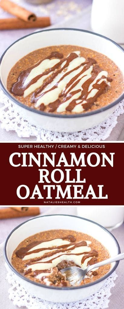 Sweet and creamy, this Cinnamon Roll Oatmeal is perfect quick breakfast. It's packed with nutrients and incredible flavor. Easy to make and utterly HEALTHY!  --- #breakfast #breakfastrecipes #healthyrecipes #healthyfood  #oatmeal #oats #veganrecipes #glutenfreerecipes #cinnamon #cinnamonrolls