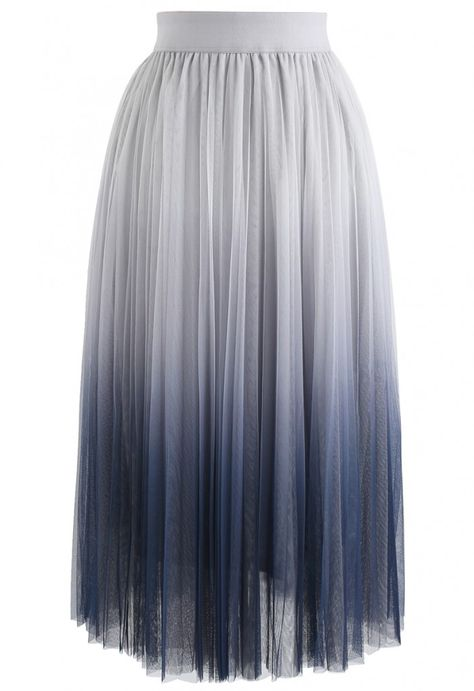 Cherished Memories Gradient Pleated Tulle Skirt in Grey - NEW ARRIVALS - Retro, Indie and Unique Fashion