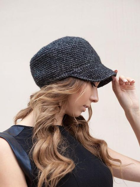 fffbfd7619a Crochet newsboy fall hat for women   Cap brimmed knit beanie hat with visor  for womens   Beanie base