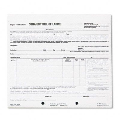 REDIFORM OFFICE PRODUCTS Bill of Lading Short Form, 250 Form Sets - blank straight bill of lading