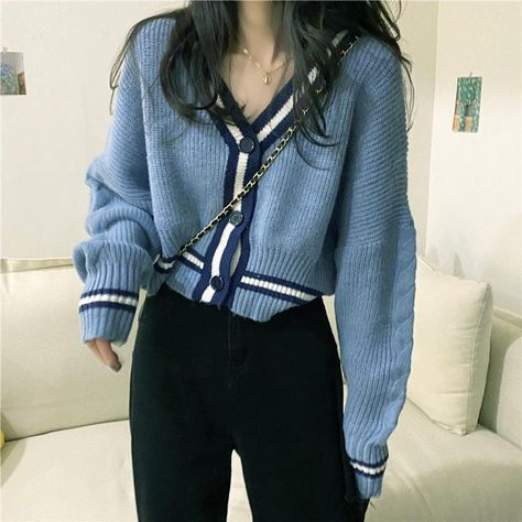 Sweater v-neck knitted cardigan coat cropped top - One-size, Blue