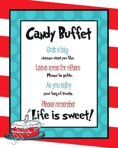 Dr. Seuss Candy Buffet. $8.10, via Etsy.