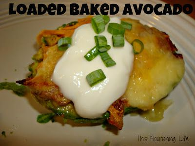 loaded baked avocados - a healthy alternative to baked potatoes and potato skins
