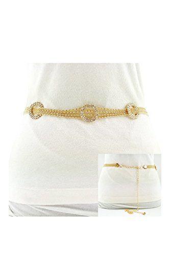Womens Rhinestone Ring Adjustable Light Chain Fashion Belt JBT1043