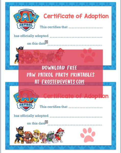 Paw Patrol Party Printables Birthday Free Printable Decorations Via Frostedevents Misty