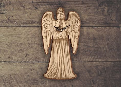 Handmade #WeepingAngels wooden clock - Doctor Who wallclock. Original and unique gift for friends. Worldwide Shipping. Available in:  www.geeksmarvels.etsy.com .  #BirthdayGifts #homeforwhovians #News #11thdoctor