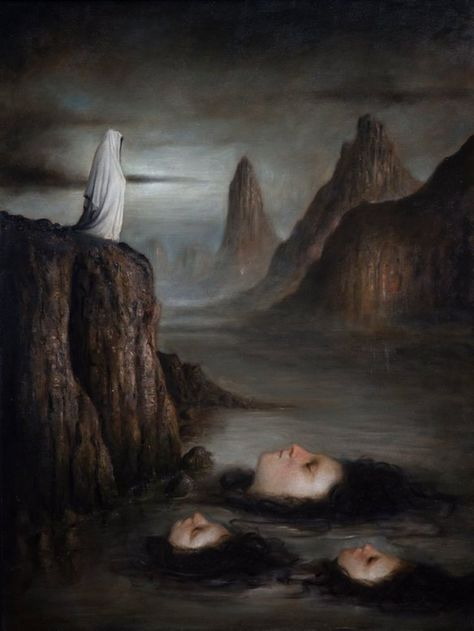 Santiago Caruso is a dark symbolist artist with an attraction to the surreal and macabre. Born in in Quilmes, Argentina Caruso's avant-garde concepts are rooted in decadentism and dark symbolism. Arte Horror, Horror Art, Dark Art Paintings, Oil Paintings, Creepy Paintings, Culture Art, The Ancient Magus, Macabre Art, Italian Painters