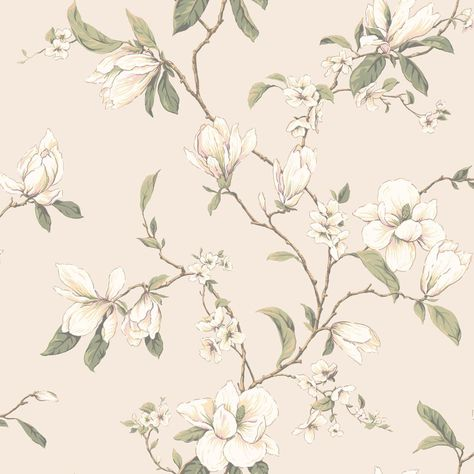 Callaway Cottage Pearlescent Cream Magnolia Branch Wallpaper York Wallcoverings Wallpaper