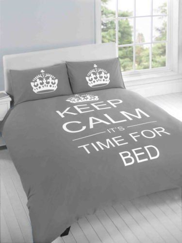 Copripiumino Keep Calm.Keep Calm Grey Silver Luxurious King Bed Size Duvet Quilt Set And