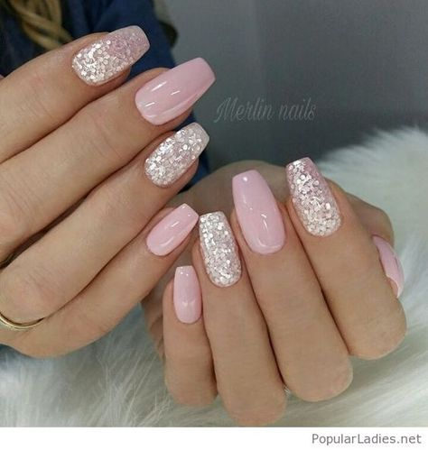 Light Pink Gel Nails With Silver Glitter Pink Gel Nails Nail Art Wedding Pink Nails