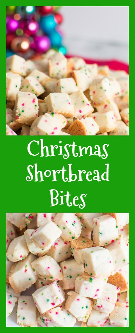 Christmas Shortbread Bites are SUPER ADDICTIVE little squares of buttery goodness! A fun alternative to the standard Christmas cookie! #asprinkleandasplash #shortbread #shortbreadcookies #shortbreadbites #christmascookies #holidaycookies #christmassnacks #christmaspartyfood #christmasdishes