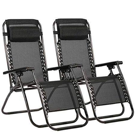 Outdoor Zero Gravity Chairs With Adjustable Pillow 2 Pack Black Walmart Com In 2020 Zero Gravity Chair Patio Zero Gravity Chair Zero Gravity Chair Outdoor