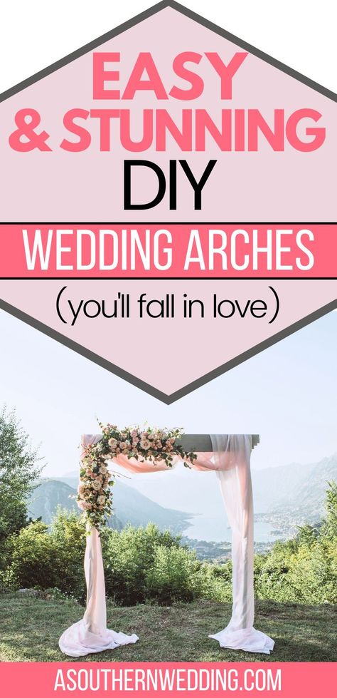 Make the ceremony space of your dreams with a beautiful DIY wedding arch! With these tips and ideas, you can create your own DIY wedding arch on a budget, that is so beautiful! #diyweddingarch #diywedding #diyweddingdecor #diybackyardwedding #diyweddingideas #weddingarch #weddingarchideas #floralweddingarch #hexagonweddingarch #circleweddingarch #weddingarchdiy