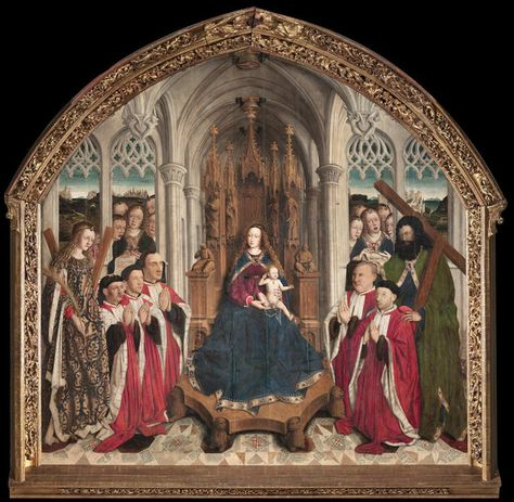 Virgin of the Consellers, by Lluís Dalmau. In 1443, Dalmau was commissioned to paint this altarpiece for the chapel. On VintPrint.com as a #poster. #religion