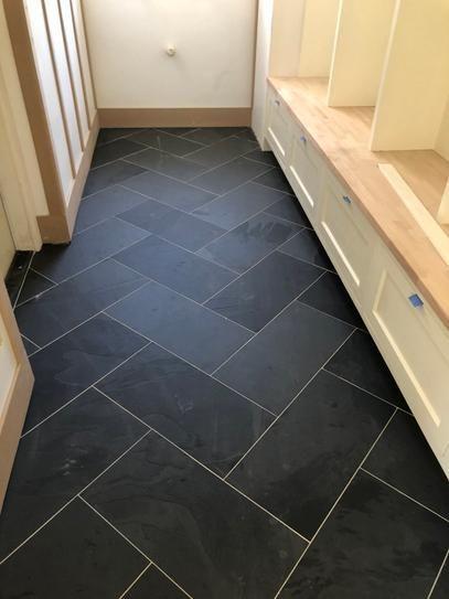 Really Like This Look But Mike Won T Be Keen On Tile Wondering If There Is A Vinyl That Would Gi In 2020 Herringbone Tile Floors Black Tile Bathrooms Slate Flooring