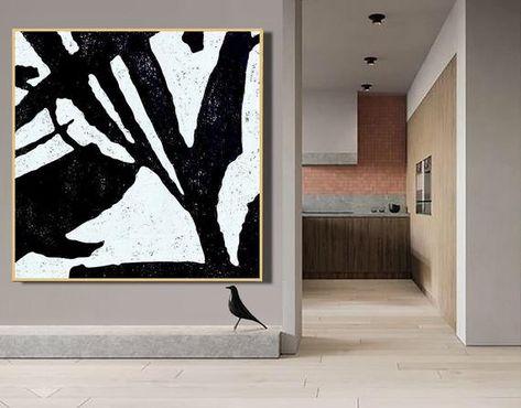 Large Abstract Paintings on Canvas Minimalist Black White- Ethan Hill Art No.H226S Mid Century Modern Art Original Art Canvas Wall Art