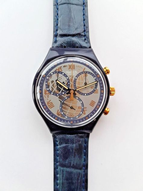 Model: # It is part of the Swatch's popular subcategory 'Chrono'. Year of Manufacture: A genuine blue leather band makes is super fancy and a good fit for any occasion.