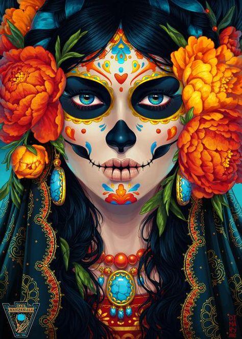 Kommission: Day of the Dead von dimary auf DeviantArt – Fantasy - Malvorlagen Mandala Day Of Dead, Day Of The Dead Girl, Sugar Skull Artwork, Sugar Skull Wallpaper, Los Muertos Tattoo, Day Of The Dead Artwork, Skull Girl Tattoo, Catrina Tattoo, Sugar Skull Girl