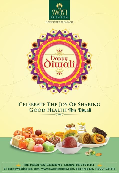 Do not miss out a chance to convey your heartwarming Diwali wishes to your loved ones in the sweetest way from a wide range of sweets from Swosti Premium Hotel, Bhubaneswar.  Call Us: 9338217327, 9338089751  #DiwaliSweets #DiwaliWishes #SwostiHotels #SwostiPremium