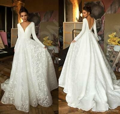 Vneck Wedding Dress Deep Ad Ebay Url Vintage Lace Satin Wedding Dresses Deep V Neck L In 2020 Long Sleeve Bridal Dresses Backless Bridal Gowns Wedding Dress Trends