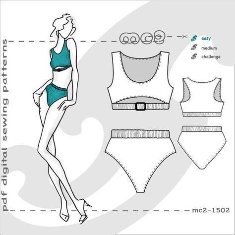 7d3ab1cf502d4 2-piece Swimsuit (sizes  S-M-L) Digital PDF Sewing Pattern for Women   mc2patterns  mc2-1502