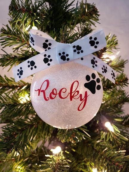 Pet Name Ornament Dog Name Ornament Cat Name Ornament Pet Etsy In 2020 Dog Christmas Ornaments Christmas Ornaments Christmas Ornament Crafts